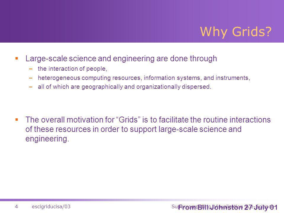 Supercomputing, Visualization & e-Science4escigriducisa/03 Why Grids.