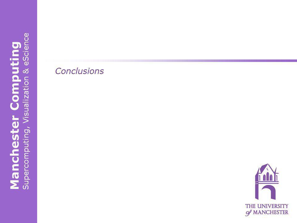 Manchester Computing Supercomputing, Visualization & eScience Conclusions