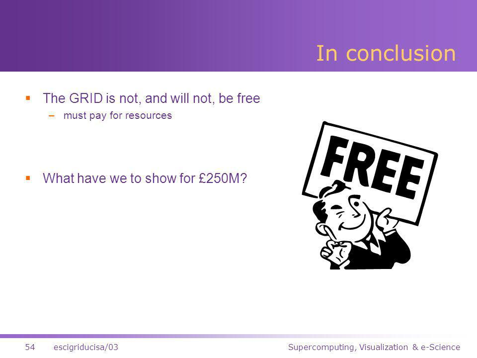 Supercomputing, Visualization & e-Science54escigriducisa/03 In conclusion The GRID is not, and will not, be free –must pay for resources What have we to show for £250M?