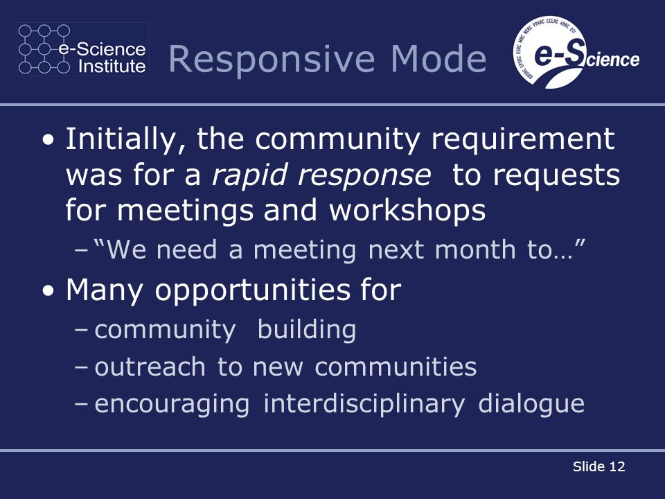 Slide 12 Responsive Mode Initially, the community requirement was for a rapid response to requests for meetings and workshops –We need a meeting next month to… Many opportunities for –community building –outreach to new communities –encouraging interdisciplinary dialogue