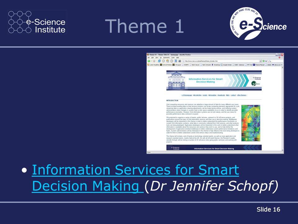 Slide 16 Theme 1 Information Services for Smart Decision Making (Dr Jennifer Schopf)Information Services for Smart Decision Making