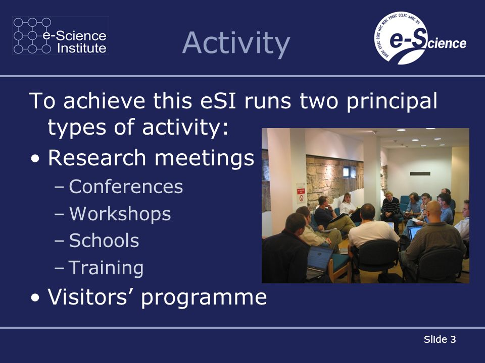 Slide 3 Activity To achieve this eSI runs two principal types of activity: Research meetings –Conferences –Workshops –Schools –Training Visitors programme