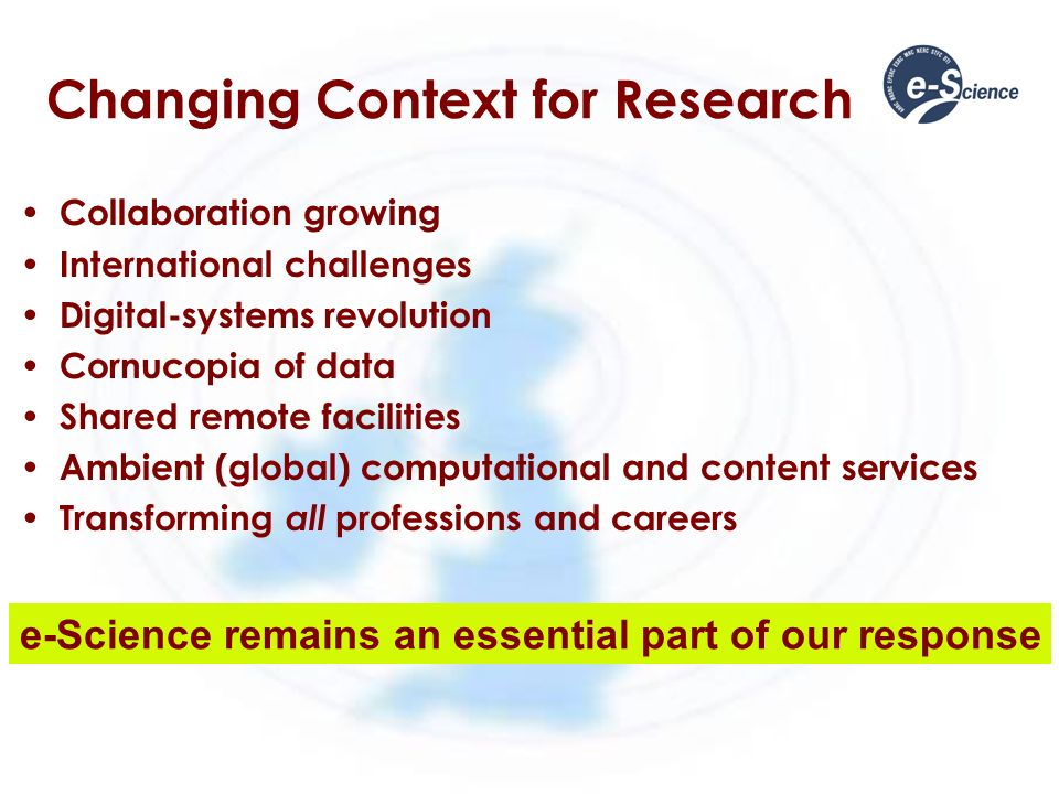 Changing Context for Research Collaboration growing International challenges Digital-systems revolution Cornucopia of data Shared remote facilities Ambient (global) computational and content services Transforming all professions and careers e-Science remains an essential part of our response