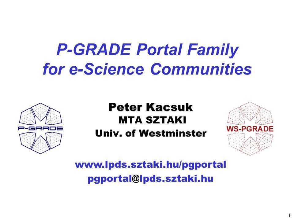 1 www.lpds.sztaki.hu/pgportal pgportal@lpds.sztaki.hu P-GRADE Portal Family for e-Science Communities Peter Kacsuk Peter Kacsuk MTA SZTAKI Univ. of We