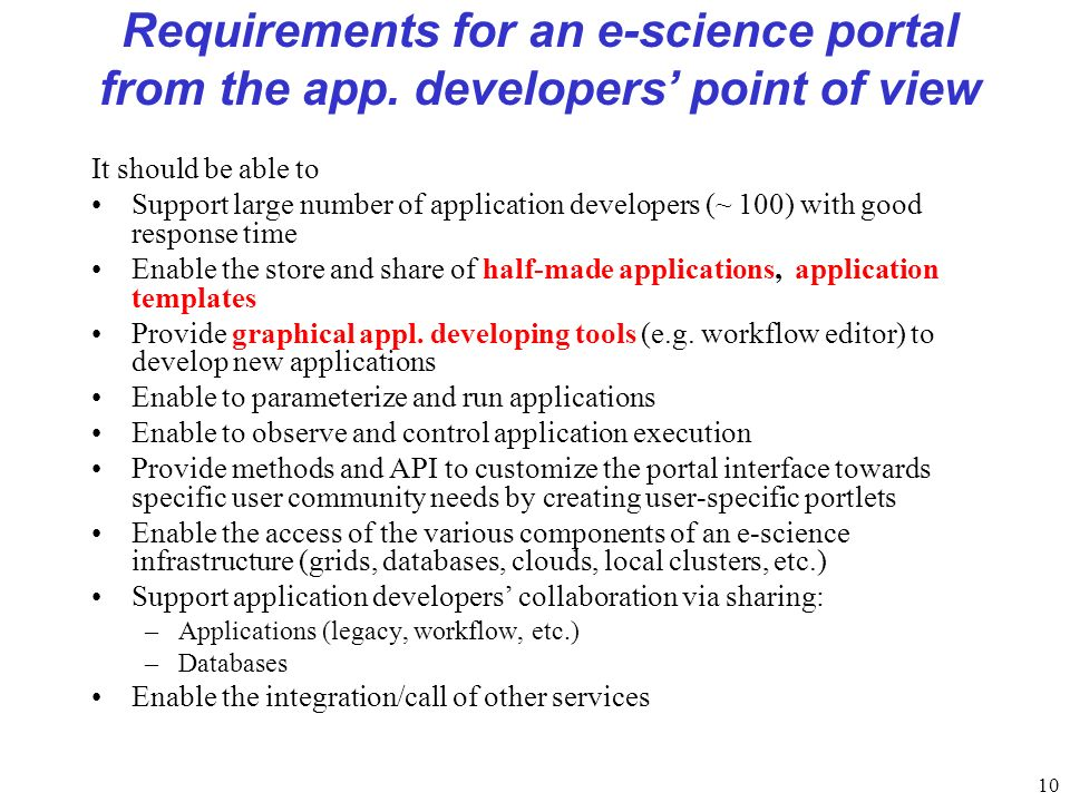 10 Requirements for an e-science portal from the app.