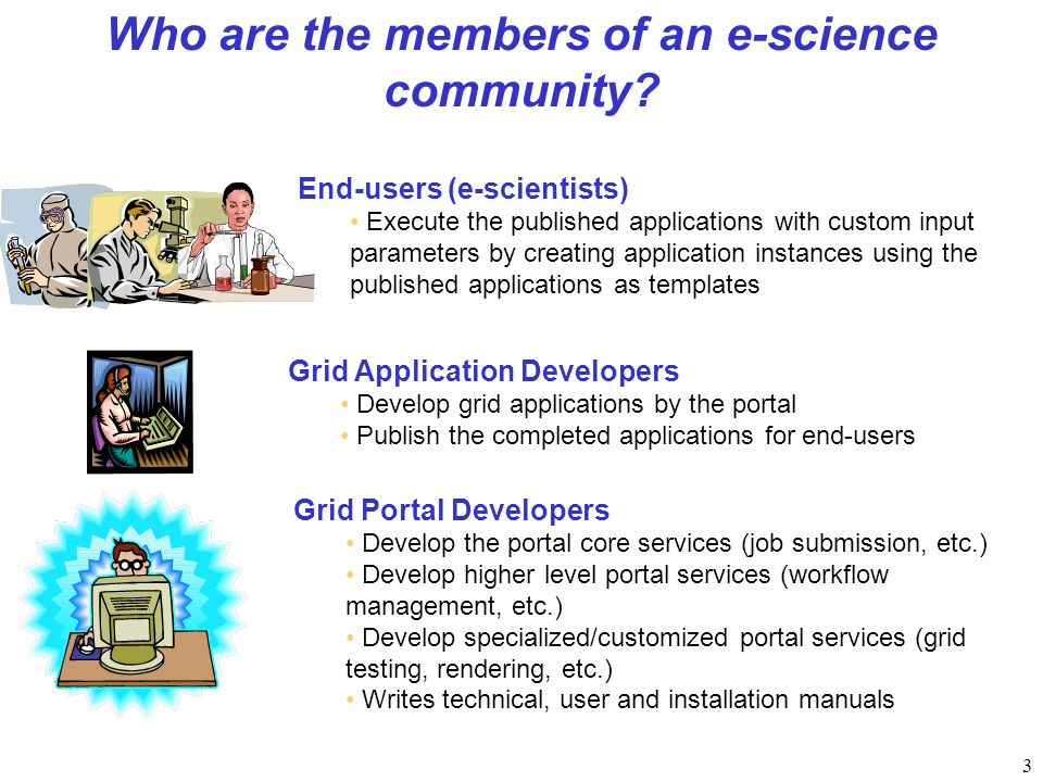 3 Who are the members of an e-science community.