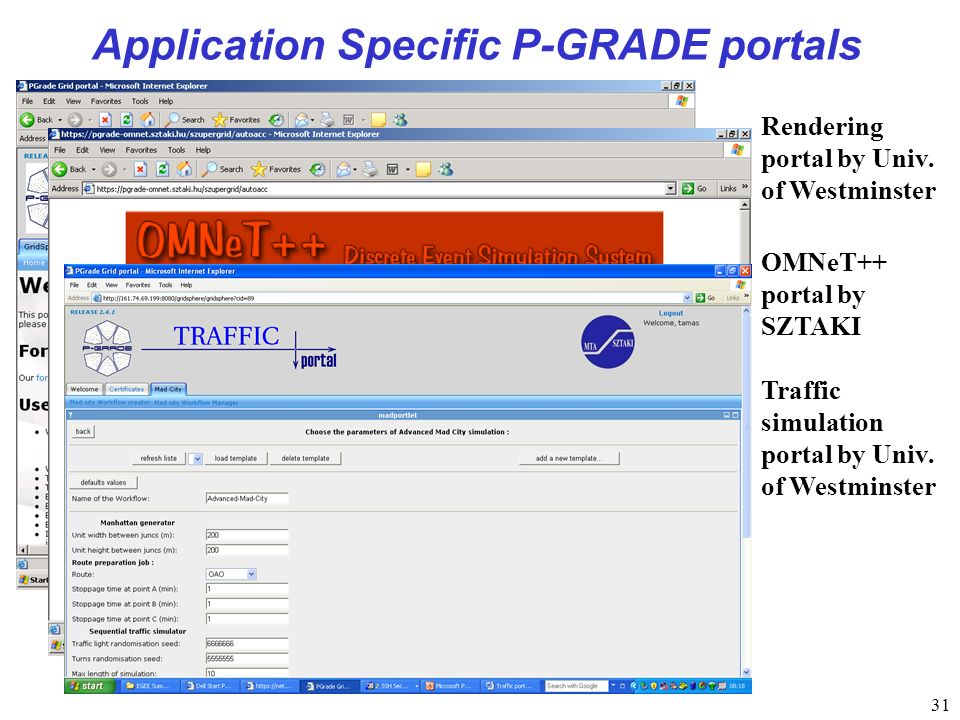 31 Application Specific P-GRADE portals Rendering portal by Univ.