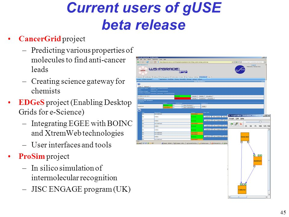 45 Current users of gUSE beta release CancerGrid project –Predicting various properties of molecules to find anti-cancer leads –Creating science gateway for chemists EDGeS project (Enabling Desktop Grids for e-Science) –Integrating EGEE with BOINC and XtremWeb technologies –User interfaces and tools ProSim project –In silico simulation of intermolecular recognition –JISC ENGAGE program (UK)