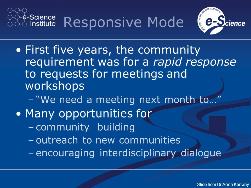 Responsive Mode First five years, the community requirement was for a rapid response to requests for meetings and workshops –We need a meeting next month to… Many opportunities for –community building –outreach to new communities –encouraging interdisciplinary dialogue Slide from Dr Anna Kenway