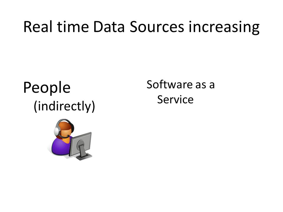 Real time Data Sources increasing Software as a Service People (indirectly)