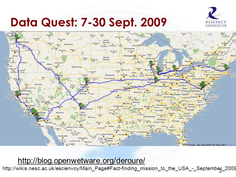 Data Quest: 7-30 Sept. 2009 2 http://blog.openwetware.org/deroure/ http://wikis.nesc.ac.uk/escienvoy/Main_Page#Fact-finding_mission_to_the_USA_-_Septe
