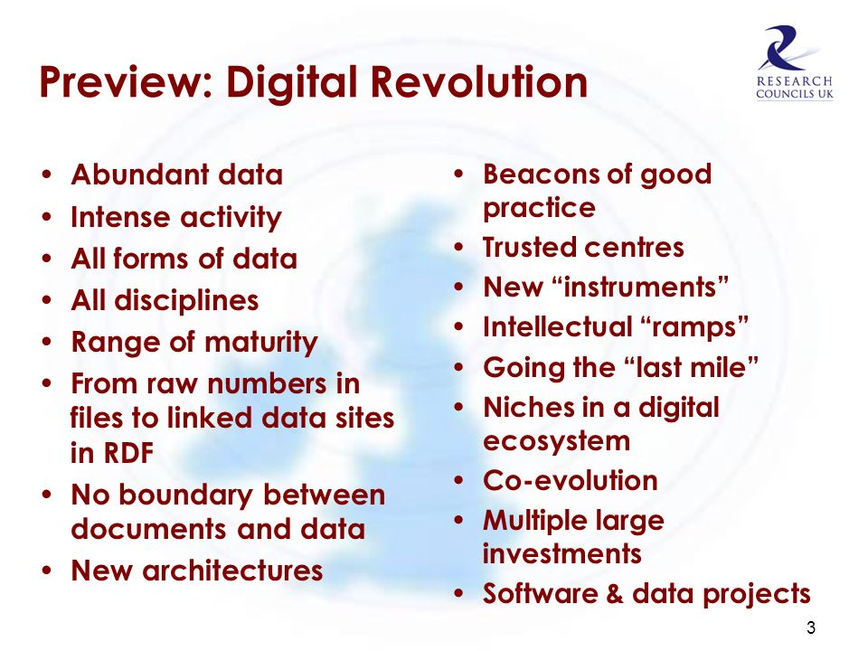 Preview: Digital Revolution Abundant data Intense activity All forms of data All disciplines Range of maturity From raw numbers in files to linked dat
