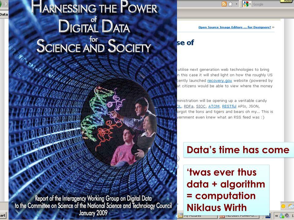 Datas time has come twas ever thus data + algorithm = computation Niklaus Wirth twas ever thus data + algorithm = computation Niklaus Wirth