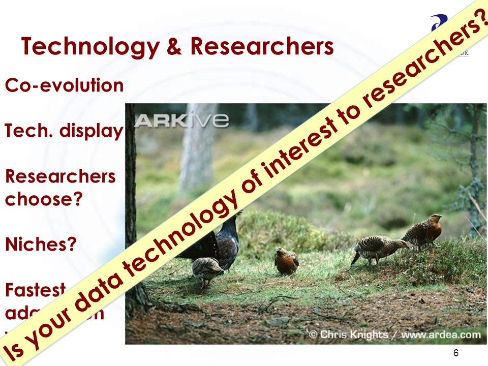 Technology & Researchers 6 Co-evolution Tech. display Researchers choose? Niches? Fastest at adaptation wins Is your data technology of interest to re