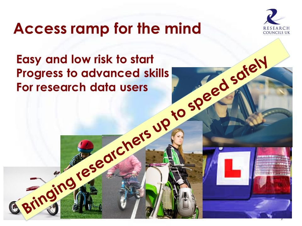 Access ramp for the mind 7 Easy and low risk to start Progress to advanced skills For research data users Bringing researchers up to speed safely