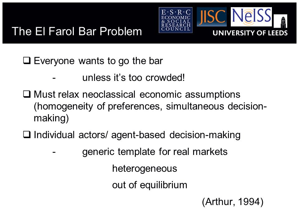 The El Farol Bar Problem Everyone wants to go the bar -unless its too crowded! Must relax neoclassical economic assumptions (homogeneity of preference