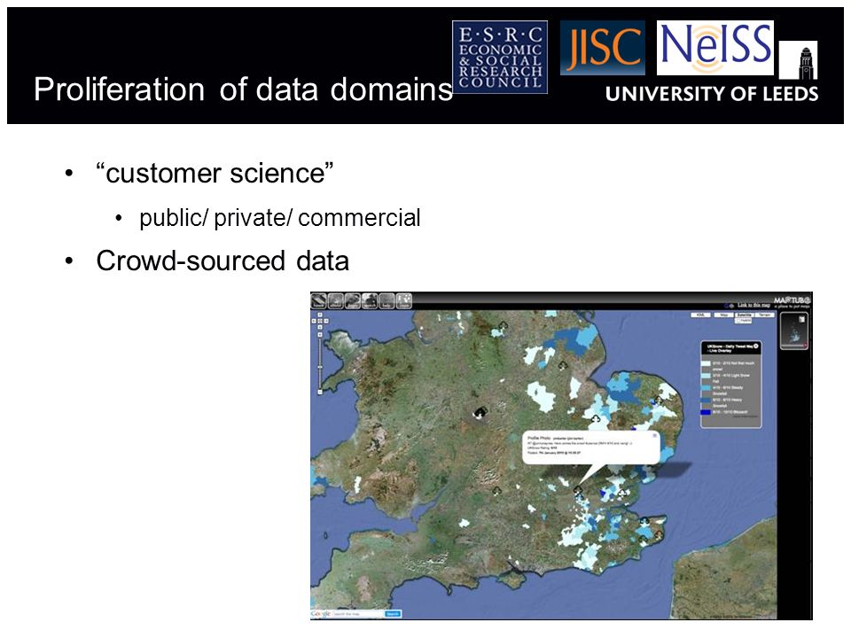 Proliferation of data domains customer science public/ private/ commercial Crowd-sourced data