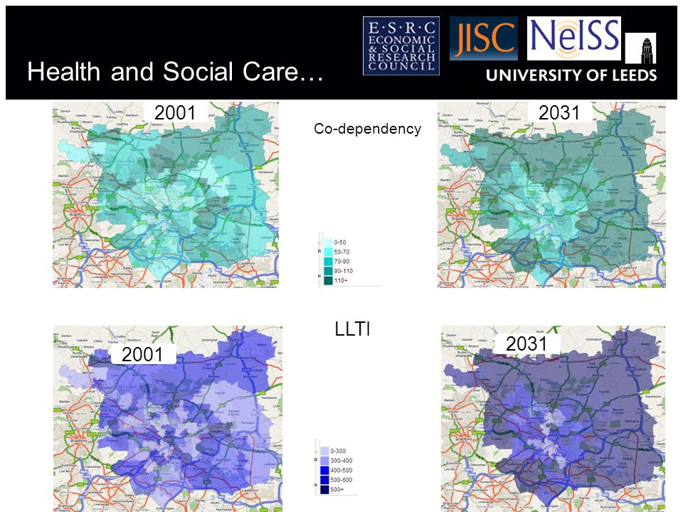 Health and Social Care… 2001 Co-dependency 2031 LLTI 2031 2001