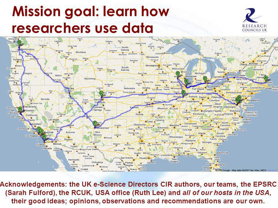 Mission goal: learn how researchers use data Acknowledgements: the UK e-Science Directors CIR authors, our teams, the EPSRC (Sarah Fulford), the RCUK,