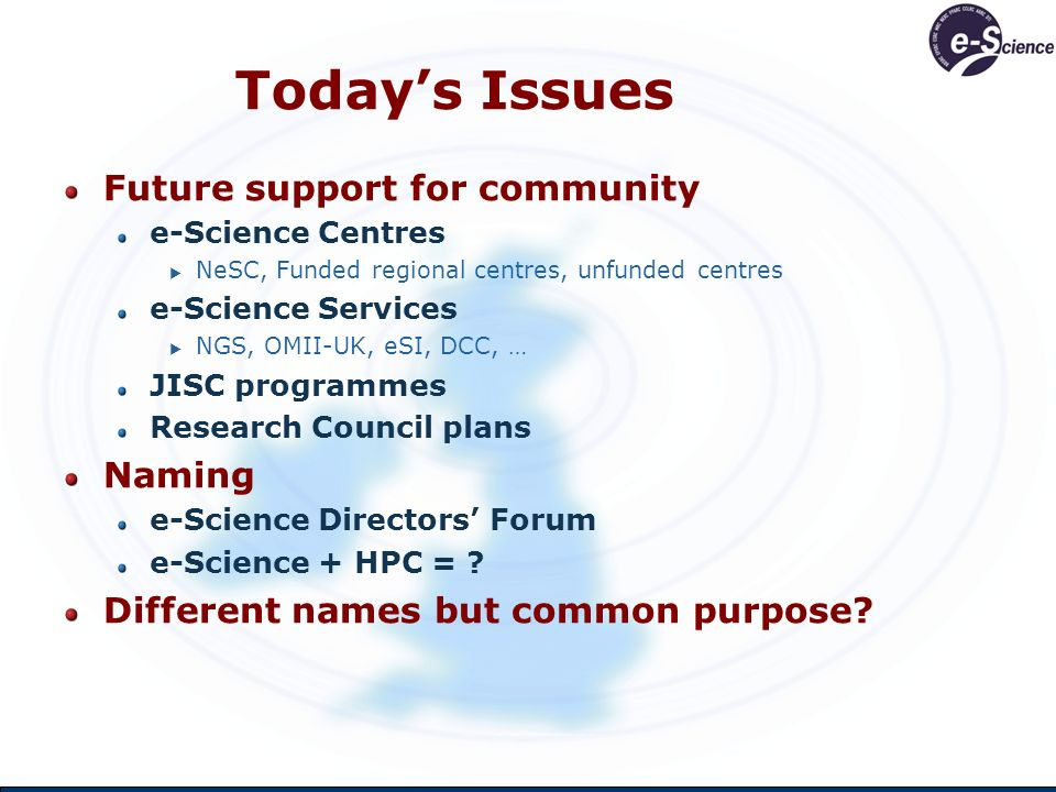 Todays Issues Future support for community e-Science Centres NeSC, Funded regional centres, unfunded centres e-Science Services NGS, OMII-UK, eSI, DCC, … JISC programmes Research Council plans Naming e-Science Directors Forum e-Science + HPC = .