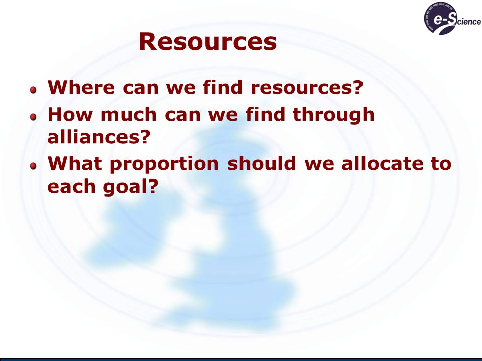 Resources Where can we find resources.How much can we find through alliances.