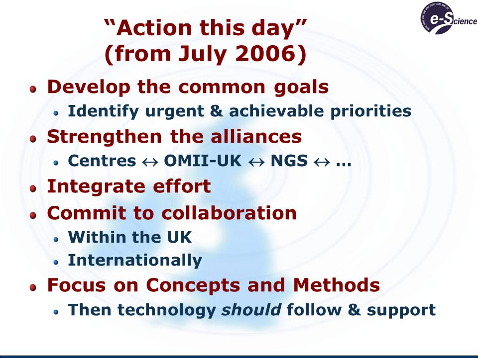 Action this day (from July 2006) Develop the common goals Identify urgent & achievable priorities Strengthen the alliances Centres OMII-UK NGS … Integrate effort Commit to collaboration Within the UK Internationally Focus on Concepts and Methods Then technology should follow & support