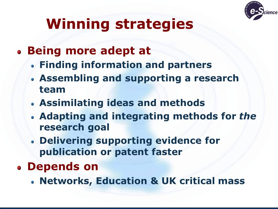 Winning strategies Being more adept at Finding information and partners Assembling and supporting a research team Assimilating ideas and methods Adapt