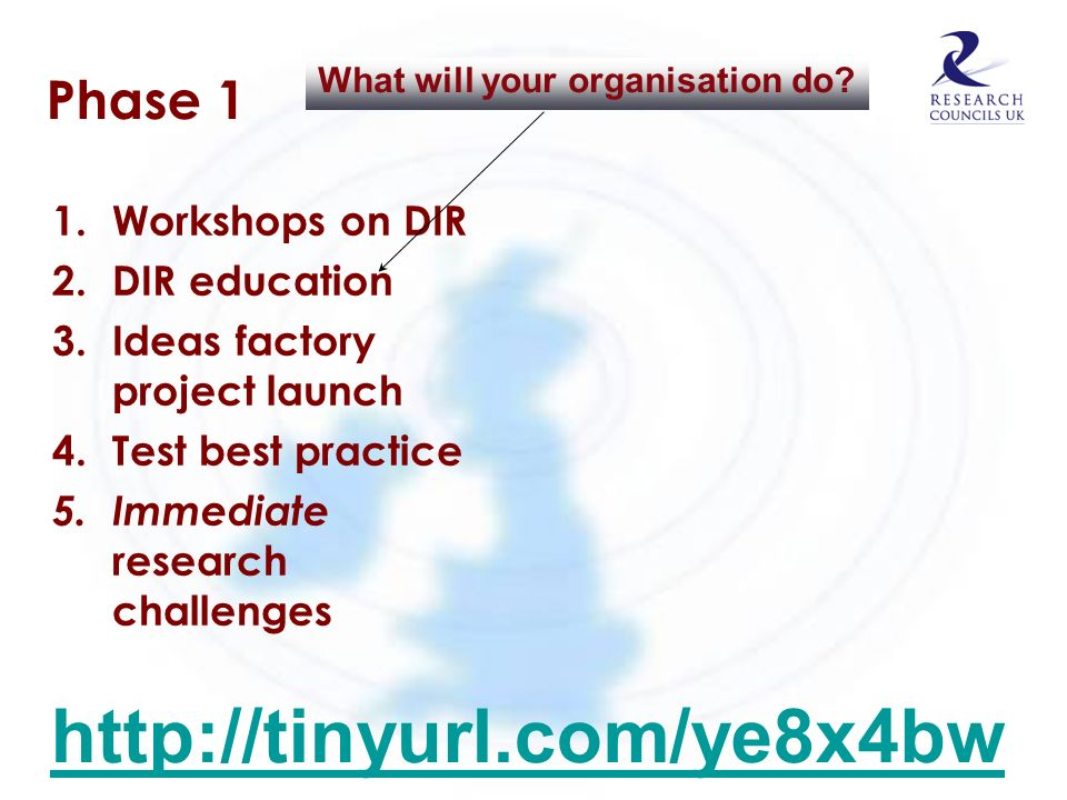 Phase 1 1. Workshops on DIR 2. DIR education 3. Ideas factory project launch 4. Test best practice 5. Immediate research challenges What will your org