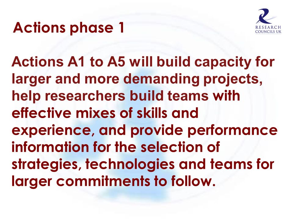 Actions phase 1 Actions A1 to A5 will build capacity for larger and more demanding projects, help researchers build teams with effective mixes of skil