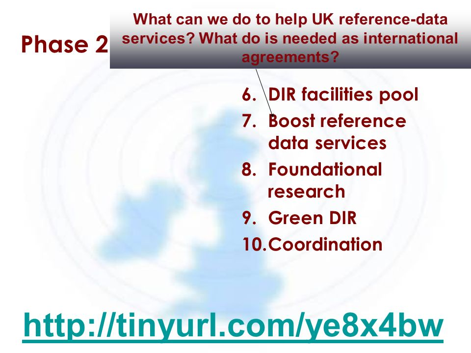 Phase 2 6.DIR facilities pool 7.Boost reference data services 8.Foundational research 9.Green DIR 10.Coordination What can we do to help UK reference-