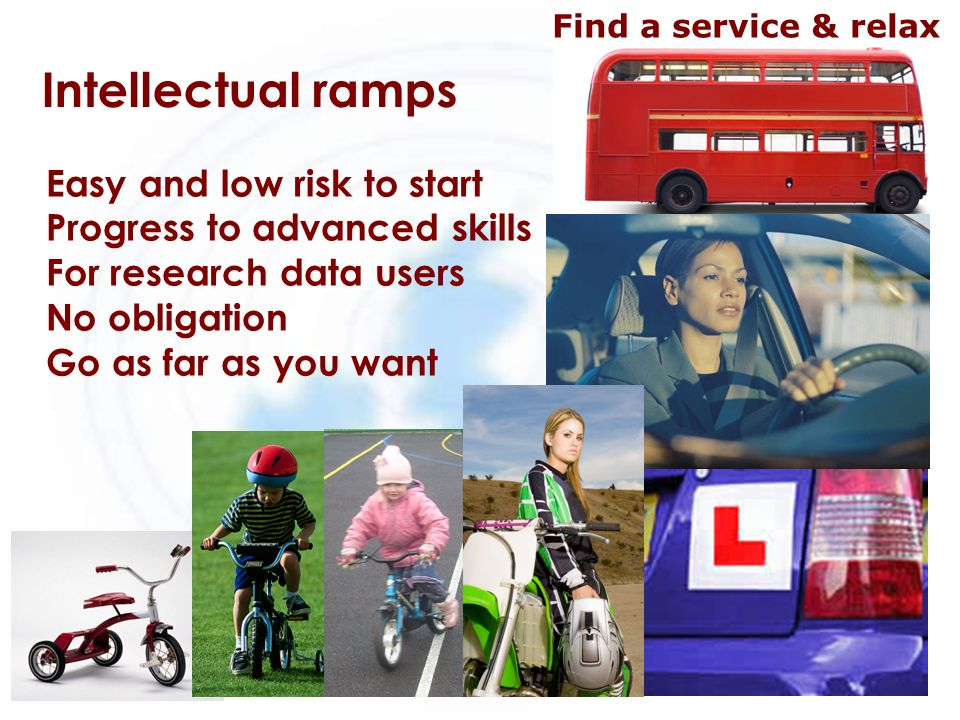 Intellectual ramps Easy and low risk to start Progress to advanced skills For research data users No obligation Go as far as you want Find a service &