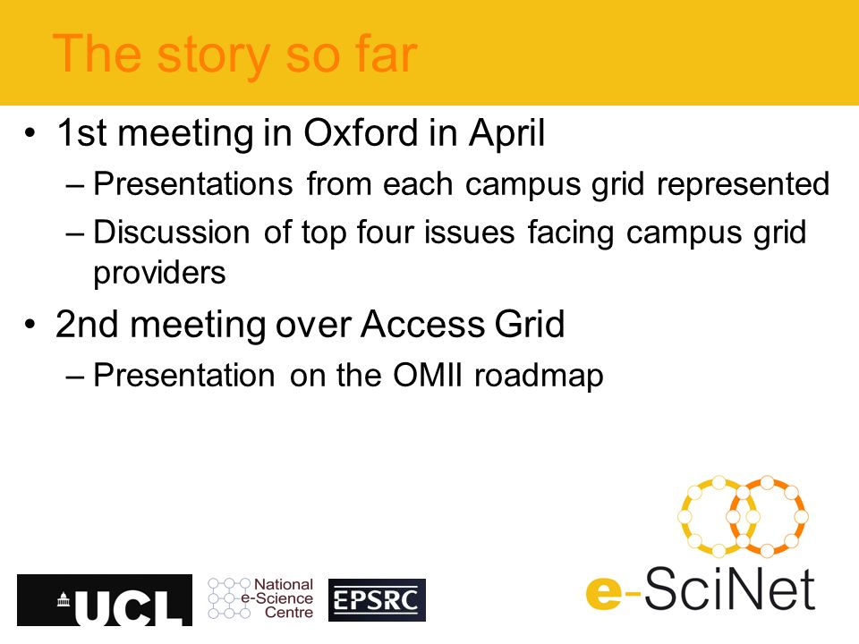 The story so far 1st meeting in Oxford in April –Presentations from each campus grid represented –Discussion of top four issues facing campus grid providers 2nd meeting over Access Grid –Presentation on the OMII roadmap