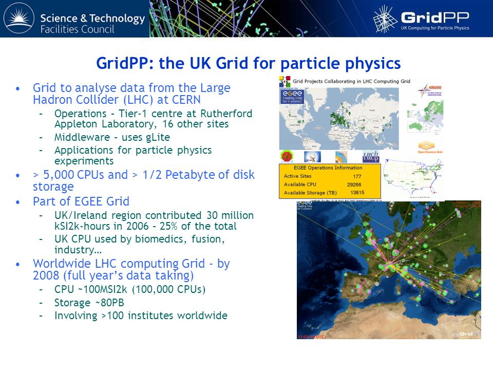 Grid to analyse data from the Large Hadron Collider (LHC) at CERN –Operations – Tier-1 centre at Rutherford Appleton Laboratory, 16 other sites –Middleware – uses gLite –Applications for particle physics experiments > 5,000 CPUs and > 1/2 Petabyte of disk storage Part of EGEE Grid –UK/Ireland region contributed 30 million kSI2k-hours in 2006 – 25% of the total –UK CPU used by biomedics, fusion, industry… Worldwide LHC computing Grid - by 2008 (full years data taking) –CPU ~100MSI2k (100,000 CPUs) –Storage ~80PB –Involving >100 institutes worldwide