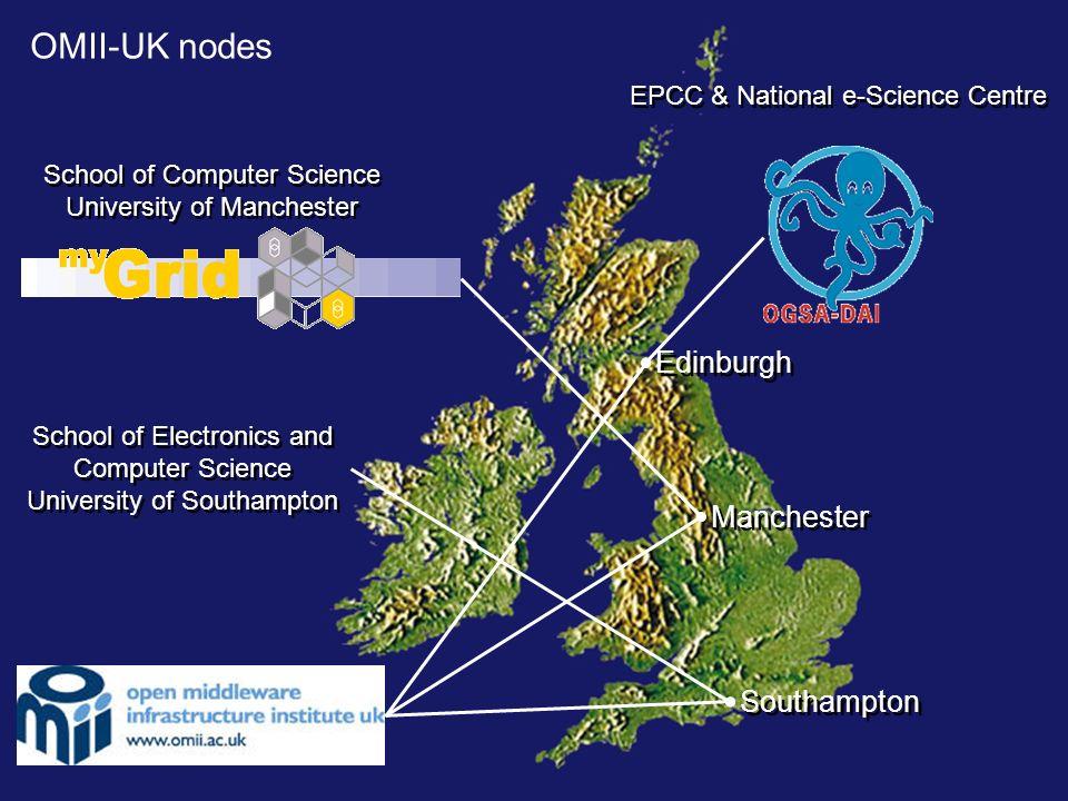 OMII-UK nodes Edinburgh EPCC & National e-Science Centre Manchester School of Computer Science University of Manchester School of Computer Science Uni