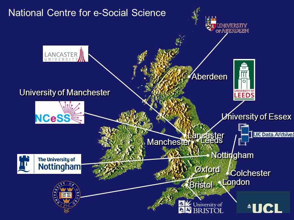 National Centre for e-Social Science Oxford University of Manchester Manchester Colchester University of Essex Lancaster Bristol Leeds London Aberdeen Nottingham