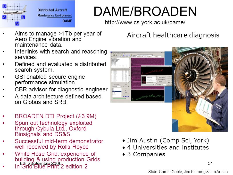 6th September 200631 DAME/BROADEN http://www.cs.york.ac.uk/dame/ Aims to manage >1Tb per year of Aero Engine vibration and maintenance data.