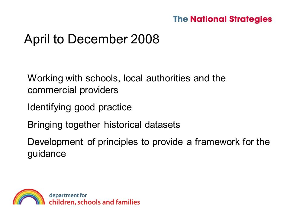 April to December 2008 Working with schools, local authorities and the commercial providers Identifying good practice Bringing together historical datasets Development of principles to provide a framework for the guidance