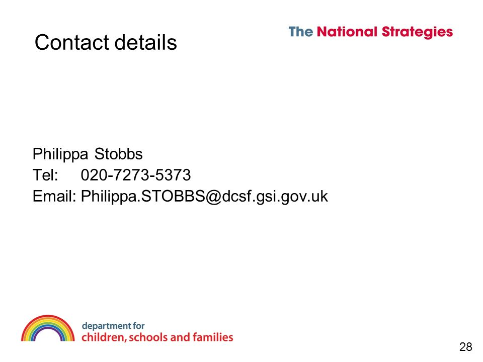 Contact details Philippa Stobbs Tel: