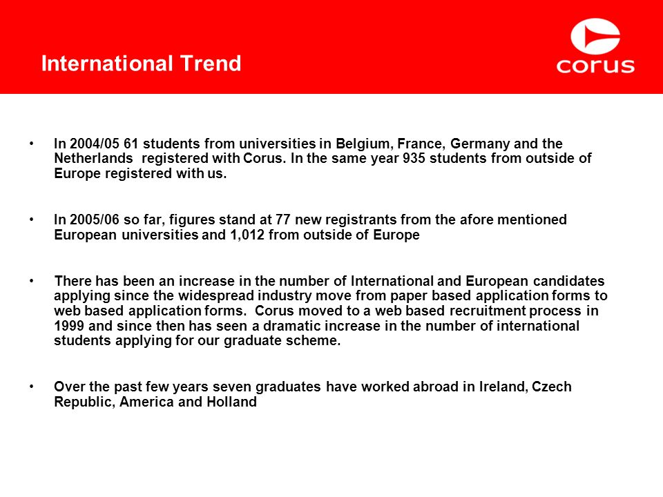In 2004/05 61 students from universities in Belgium, France, Germany and the Netherlands registered with Corus.