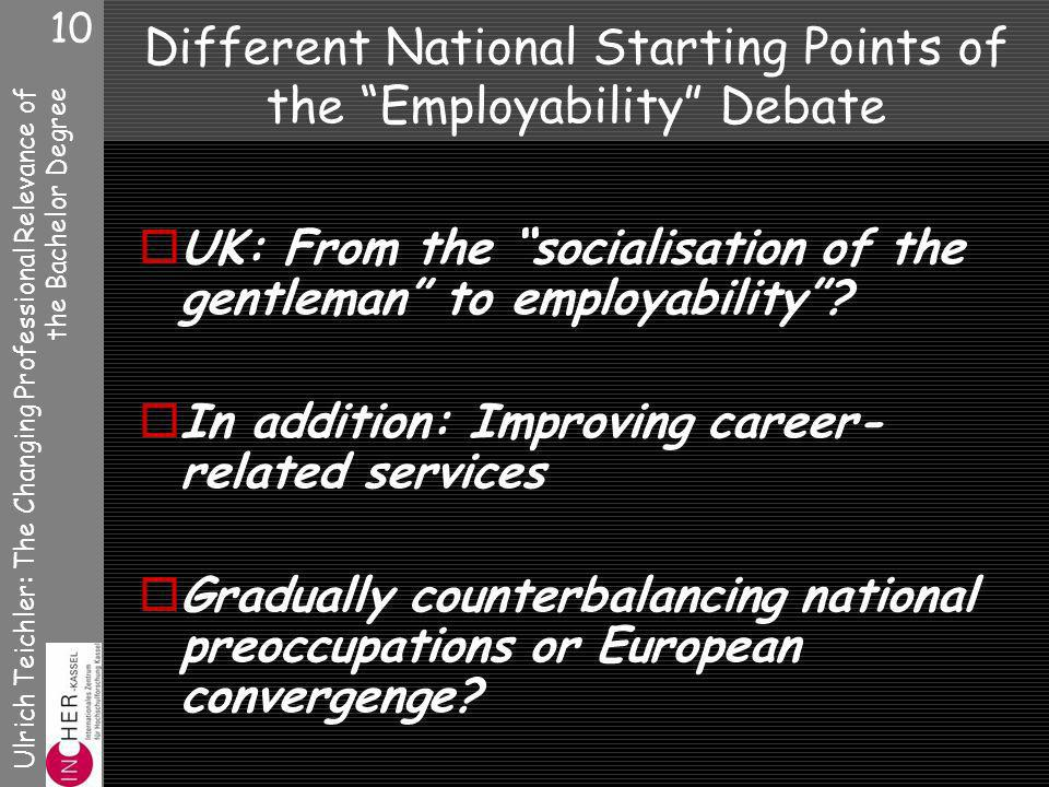 Ulrich Teichler: The Changing Professional Relevance of the Bachelor Degree 10 Different National Starting Points of the Employability Debate UK: From the socialisation of the gentleman to employability.