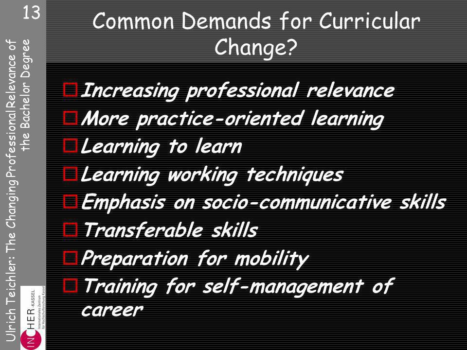 Ulrich Teichler: The Changing Professional Relevance of the Bachelor Degree 13 Common Demands for Curricular Change.
