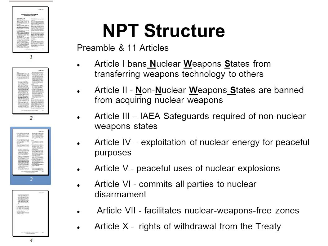 NPT Structure Preamble & 11 Articles Article I bans Nuclear Weapons States from transferring weapons technology to others Article II - Non-Nuclear Wea