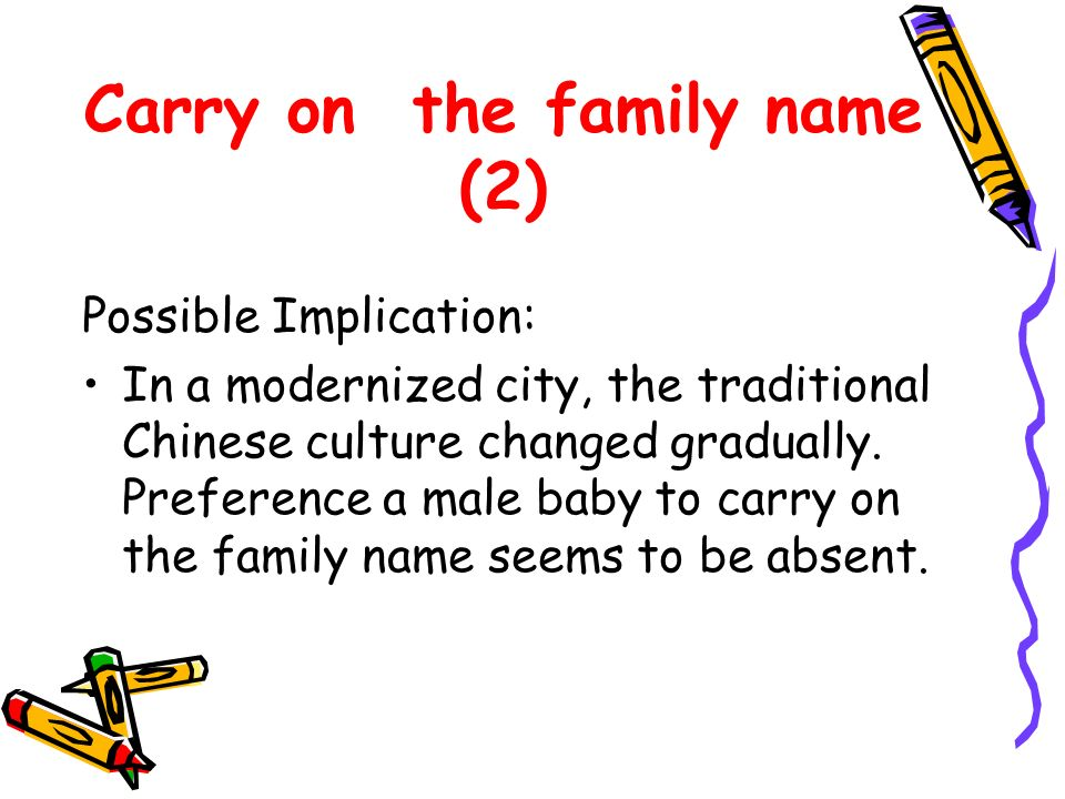 Carry on the family name (2) Possible Implication: In a modernized city, the traditional Chinese culture changed gradually.