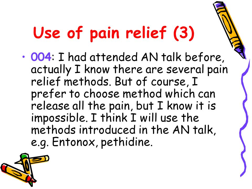 Use of pain relief (3) 004: I had attended AN talk before, actually I know there are several pain relief methods.