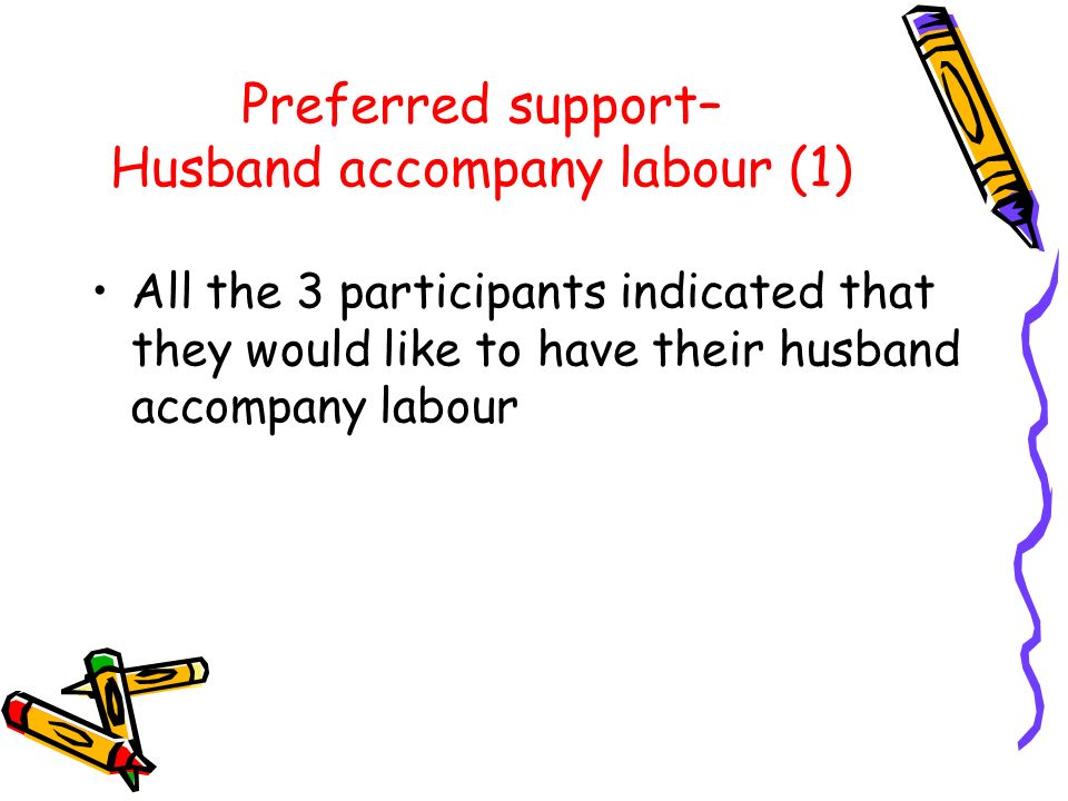 Preferred support– Husband accompany labour (1) All the 3 participants indicated that they would like to have their husband accompany labour