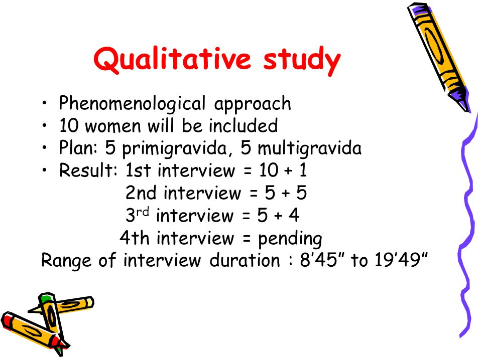 Qualitative study Phenomenological approach 10 women will be included Plan: 5 primigravida, 5 multigravida Result: 1st interview = 10 + 1 2nd interview = 5 + 5 3 rd interview = 5 + 4 4th interview = pending Range of interview duration : 845 to 1949