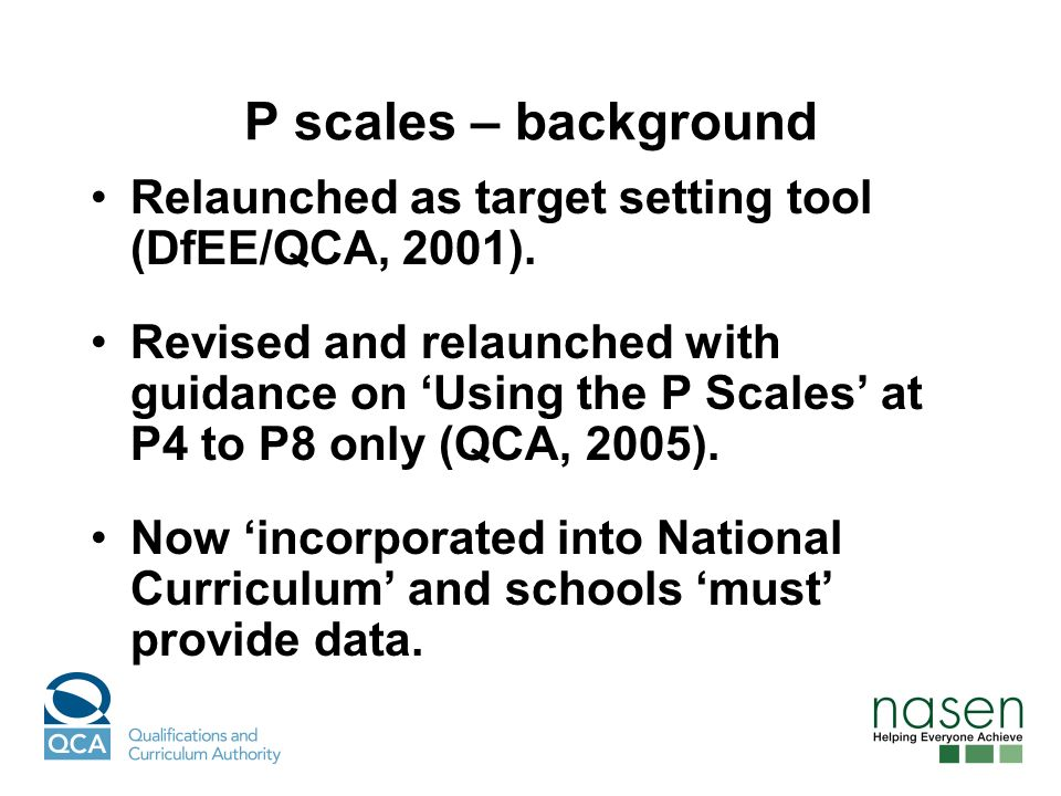 P scales – background Relaunched as target setting tool (DfEE/QCA, 2001).