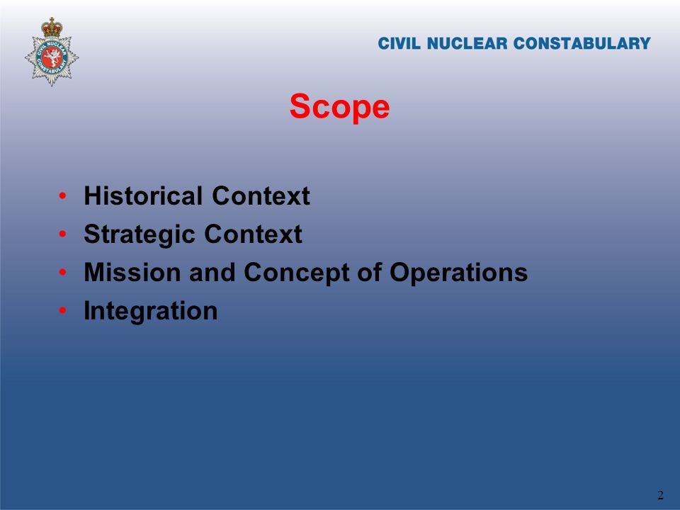 Scope Historical Context Strategic Context Mission and Concept of Operations Integration 2