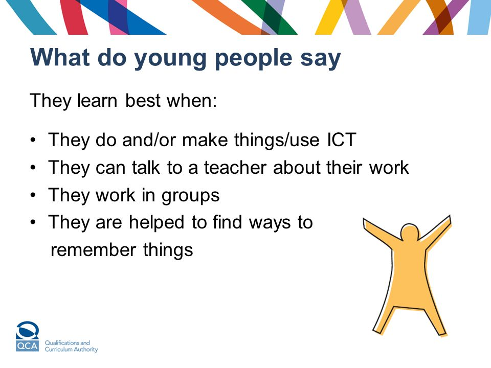 What do young people say They learn best when: They do and/or make things/use ICT They can talk to a teacher about their work They work in groups They are helped to find ways to remember things