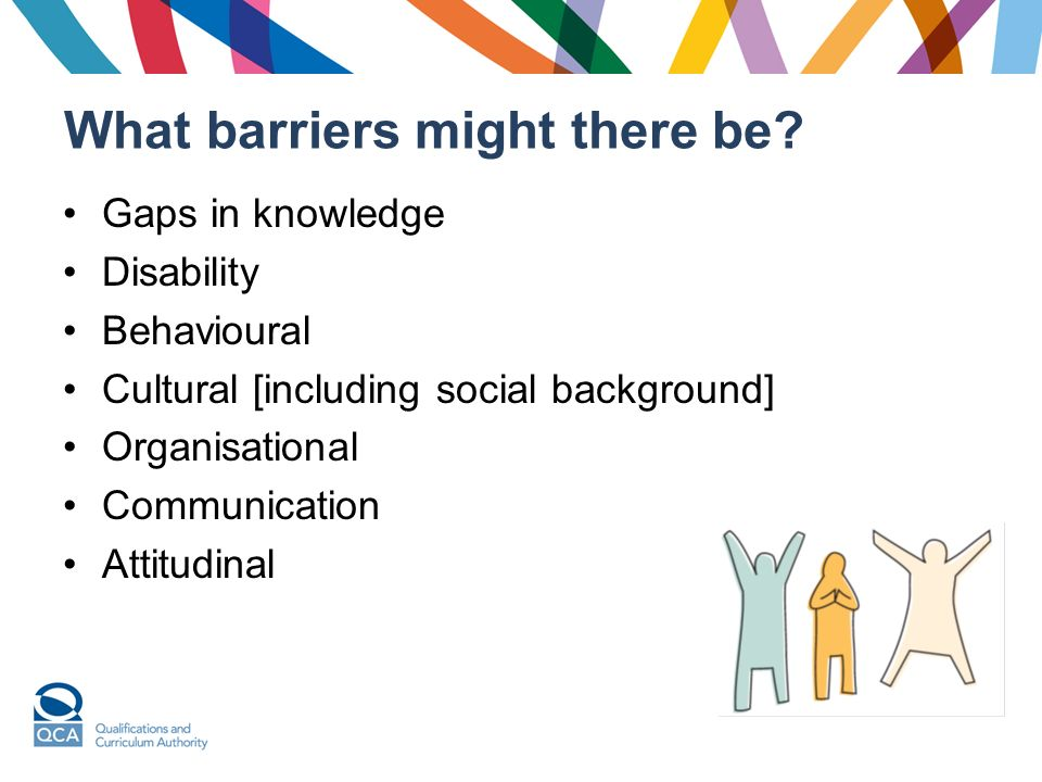What barriers might there be? Gaps in knowledge Disability Behavioural Cultural [including social background] Organisational Communication Attitudinal
